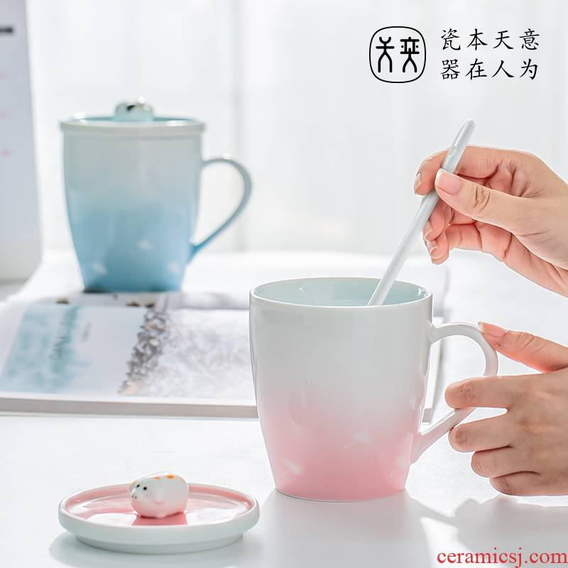 Ceramic cup keller milk cup coffee cup large capacity of Chinese valentine 's day gift for girl' s boyfriend