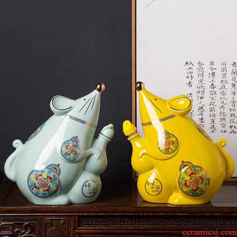 Ceramic bottle gold rat fortune jar empty bottles of wine three catties jingdezhen jars with creative little hip