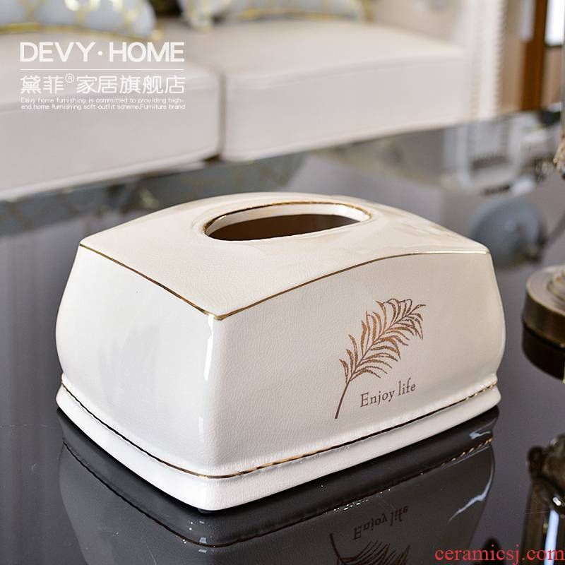 Nordic contracted light wind key-2 luxury sitting room tea table tissue box pick a carton paper box of household adornment furnishing articles furnishing articles ceramics