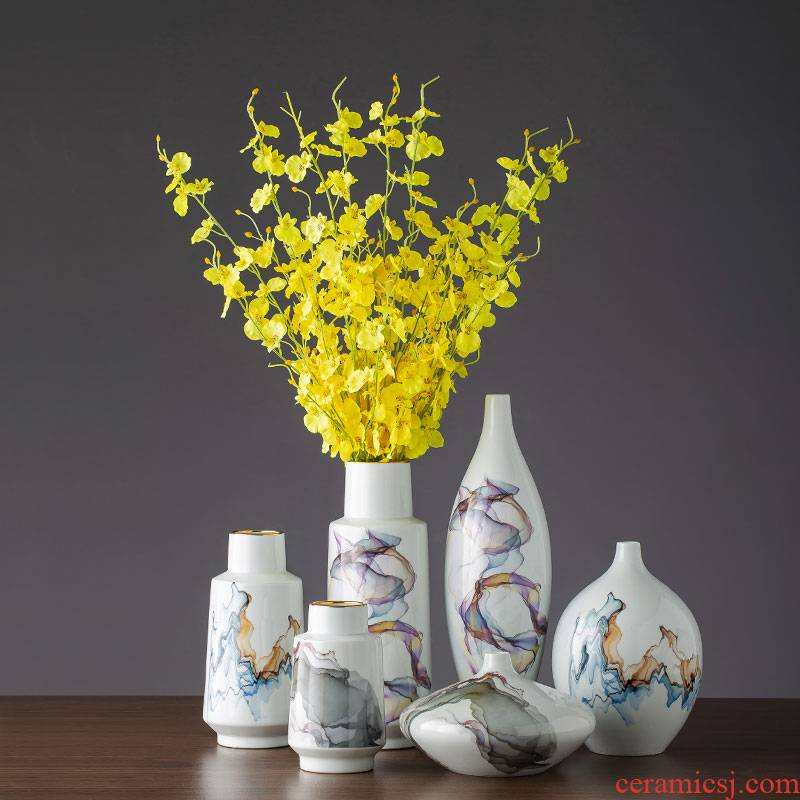 Jingdezhen new Chinese style dry flower receptacle ceramics TV ark, place of the sitting room porch decoration decoration