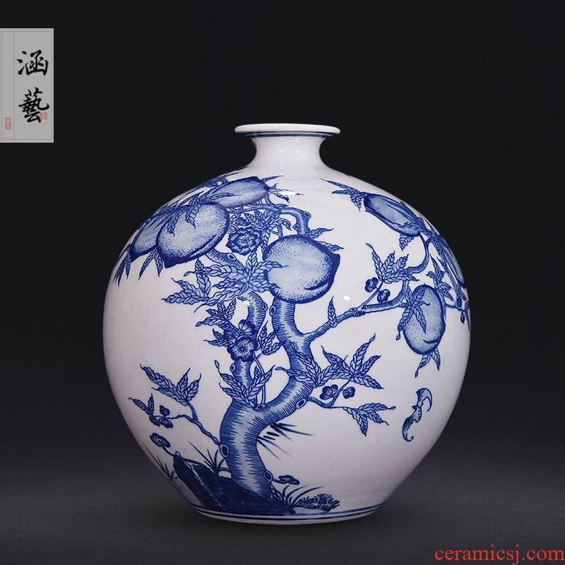 Jingdezhen blue and white wufu ceramics hand - made flat peach pomegranate bottles of new Chinese style flower arrangement sitting room adornment handicraft furnishing articles