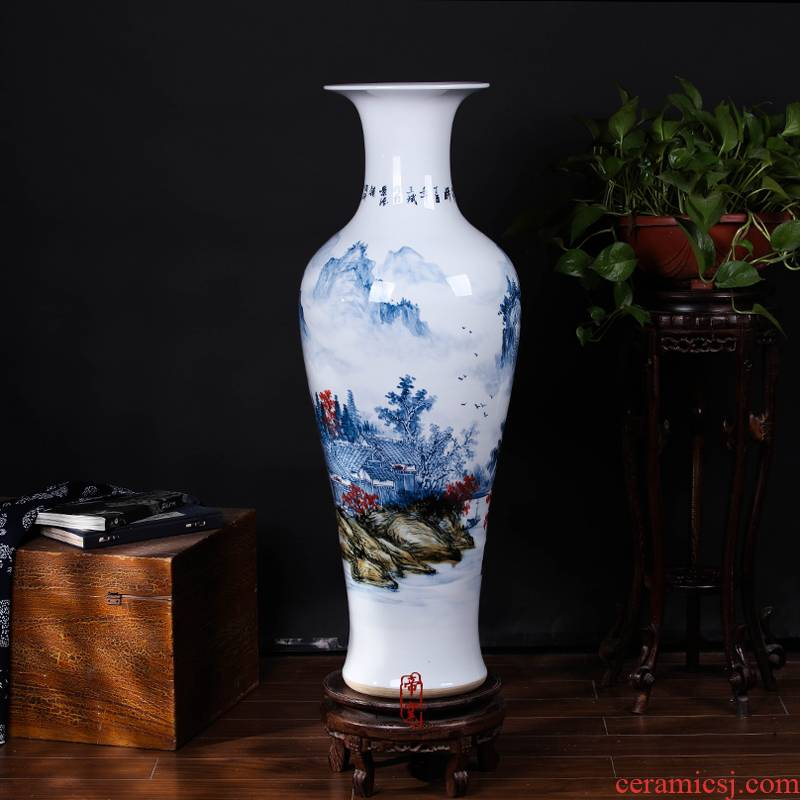 Jingdezhen ceramic hand - made under high temperature and glaze color blue and white landscape sitting room big furnishing articles household geomantic ground vase