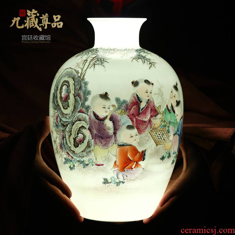 New Chinese style household hand - made vases, the sitting room porch jingdezhen ceramics TV ark, decoration crafts are arranging flowers