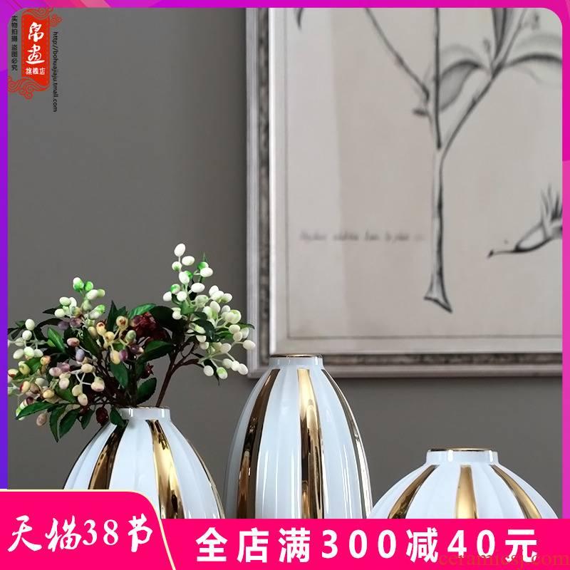 Modern fuels the jingdezhen ceramic flowers in the living room TV cabinet wine porch desktop flower arranging household furnish furnishing articles