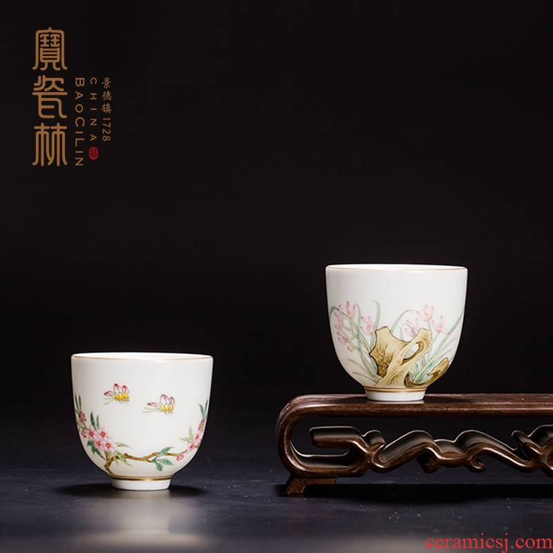 Treasure porcelain of jingdezhen ceramic Lin kung fu tea cup master cup hand - made famille rose sample tea cup single cup by hand