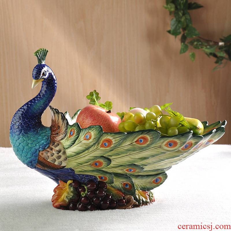 Creative ceramic fruit bowl sitting room of Chinese style compote high - grade household adornment household fruit bowl peacock furnishing articles