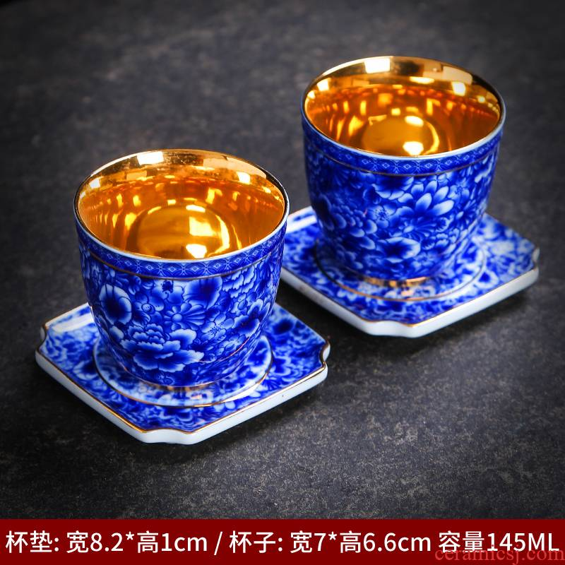 Kung fu tea cups of blue and white porcelain ceramic tea set sample tea cup size master cup bowl tea individual cup single CPU