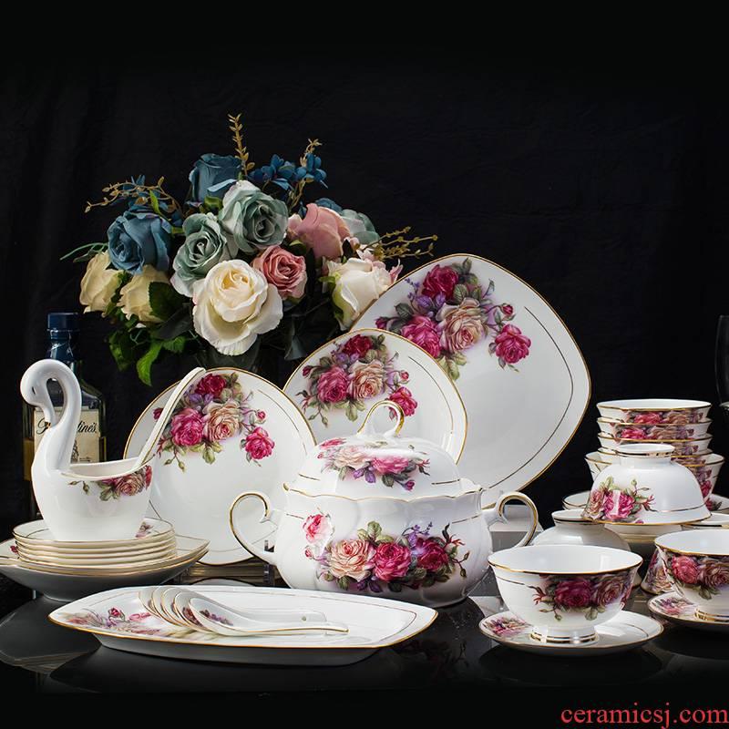 Jingdezhen ceramic creative Chinese anti hot microwave bowl dish dish of rice bowl 58 skull porcelain tableware suit