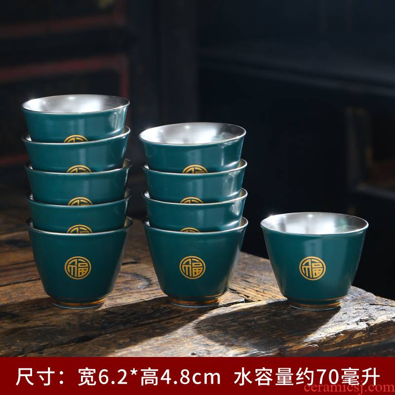 Tasted silver gilding of blue and white porcelain cup 999 sterling silver ceramic cups masters cup sample tea cup with personal a cup of tea light cup
