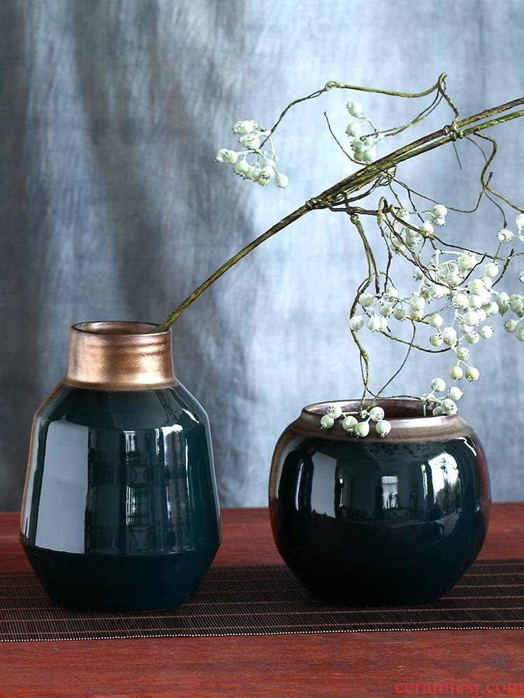 Shanhai art ceramic vase checking pottery of new Chinese style living room decorative POTS furnishing articles table floral arranging flowers