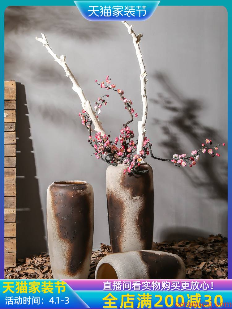 Jingdezhen sitting room be born big vase furnishing articles dry flower of Chinese style restoring ancient ways decoration decoration stores between example flower arrangement