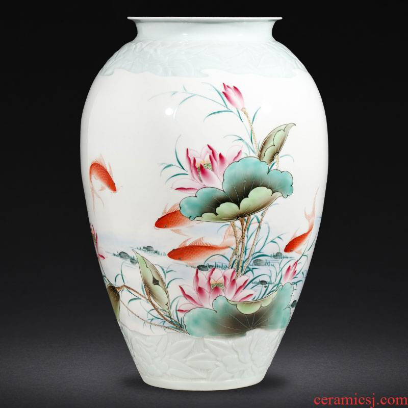 Jingdezhen ceramics famous hand - made enamel vase furnishing articles sitting room flower arranging Chinese style household decorative arts and crafts