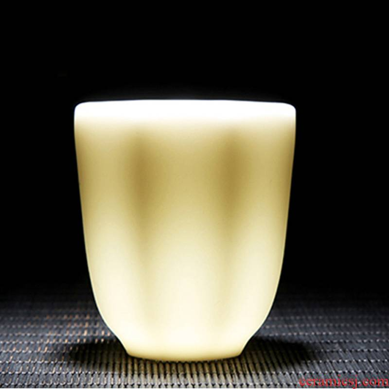 Zhuo royal kung fu tea master single CPU hand built Chinese white tea cups white porcelain suet jade glaze porcelain office home