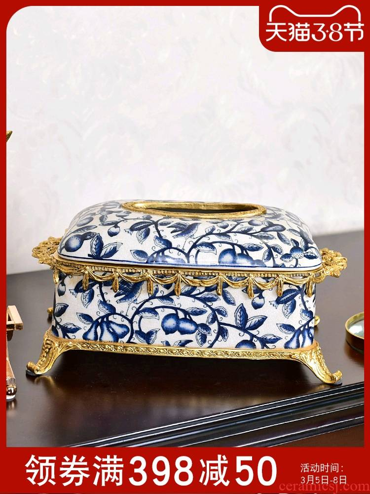 New Chinese style restoring ancient ways is luxurious ceramic European - style tissue boxes sitting room tea table with the table light smoke box furnishing articles luxuries