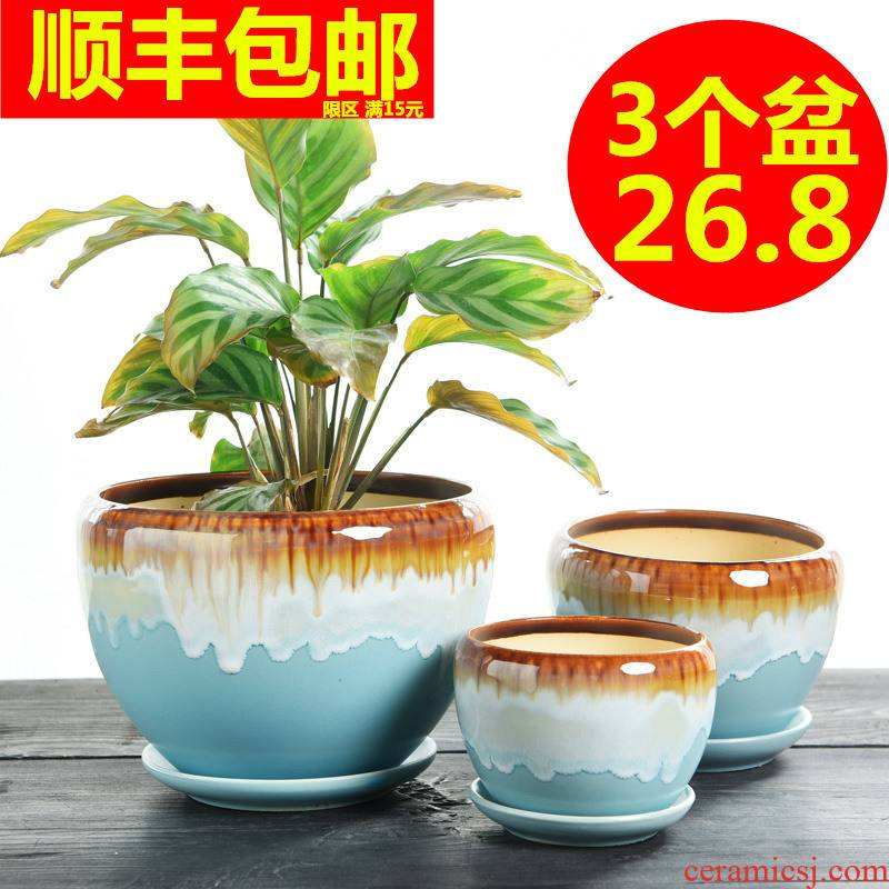 Heavy flowerpot ceramic special offer a clearance large bracketplant contracted with tray individuality creative other small fleshy flower pot