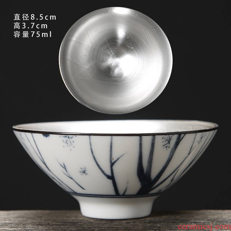 Kung fu coppering. As silver cup silver cup 999 sterling silver bladder ceramic masters cup sample tea cup perfectly playable cup single CPU restoring ancient ways