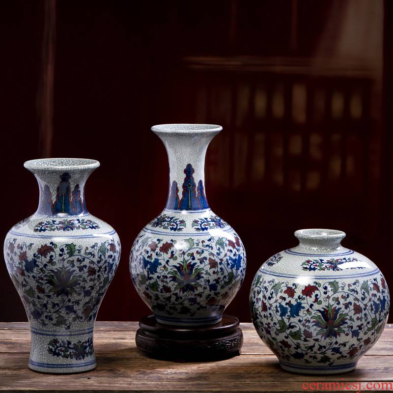 Jingdezhen ceramic vase furnishing articles colorful Chinese dried flowers sitting room adornment flower arrangement of blue and white porcelain porcelain porch decoration