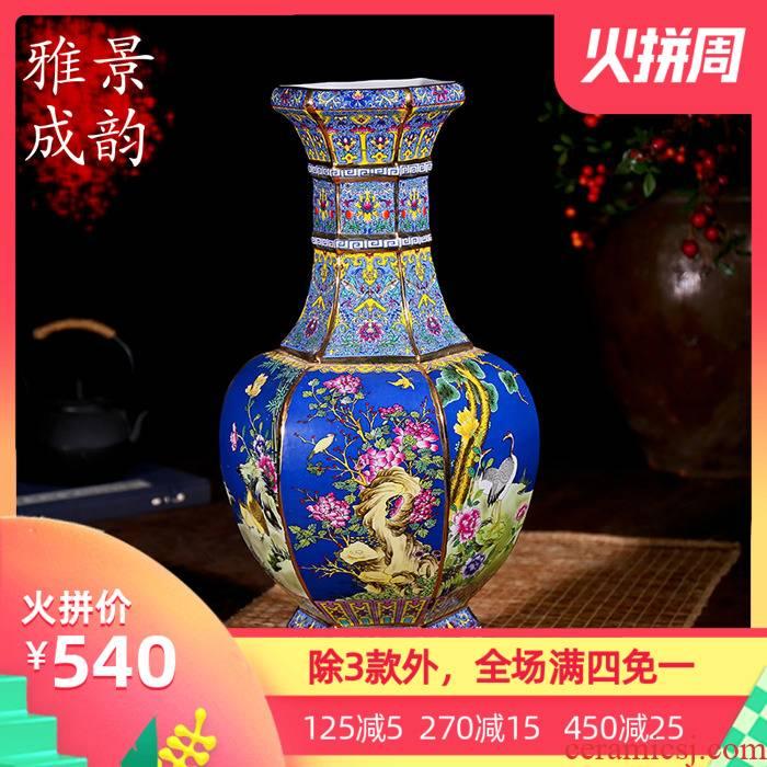 Jingdezhen ceramic up with classical modern fashion antique vase furnishing articles housewarming flower arranging European floor living room