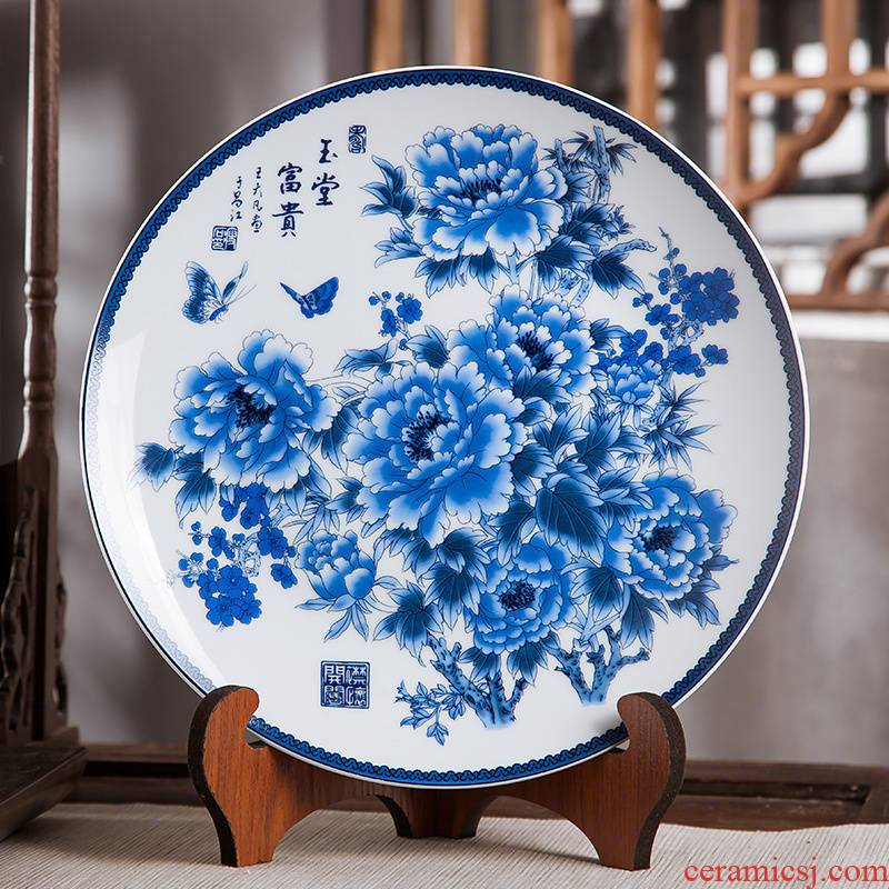 Jingdezhen ceramics furnishing articles household decorations hanging dish sitting room CV 18 Chinese arts and crafts rich decorative plate