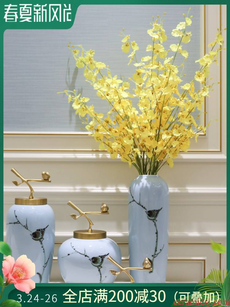 New Chinese style is I and contracted sitting room porch ornament porcelain vases of TV ark, wine flower flower implement large furnishing articles