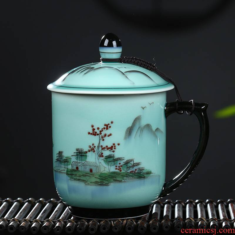 Large capacity ceramic cup with cover the boss celadon hand - made personal office gift cups cup cup single cup tea cup