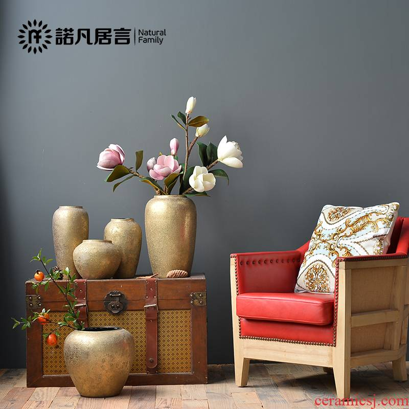 Mesa of ceramic vase sitting room place dried flower arranging flowers European - style villa hotel club champagne gold decoration decoration