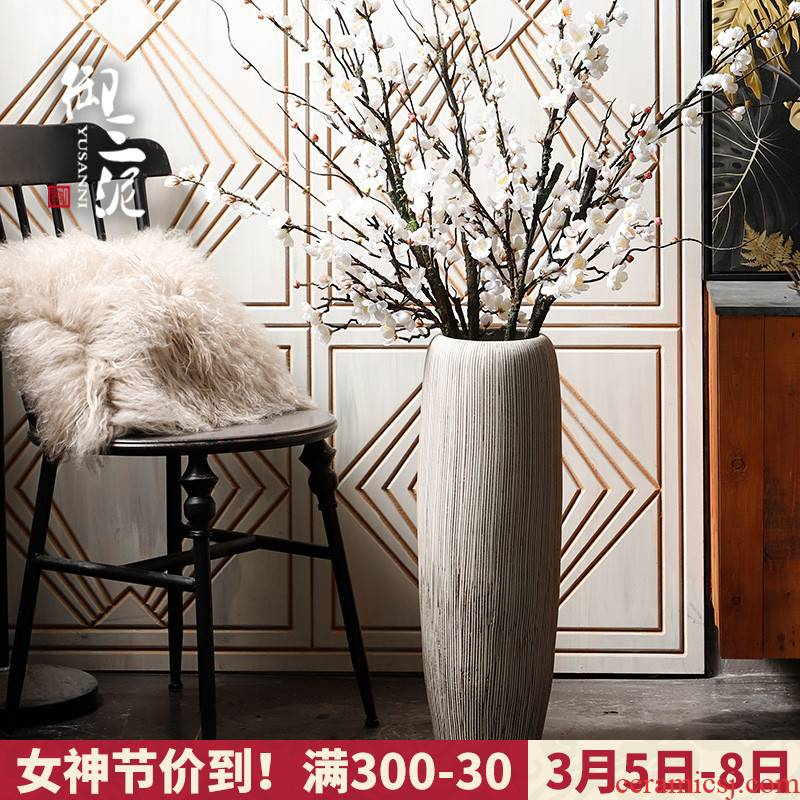 Contracted and I jingdezhen ceramic dry flower of large vase restoring ancient ways furnishing articles sitting room flower arranging flowers, checking pottery