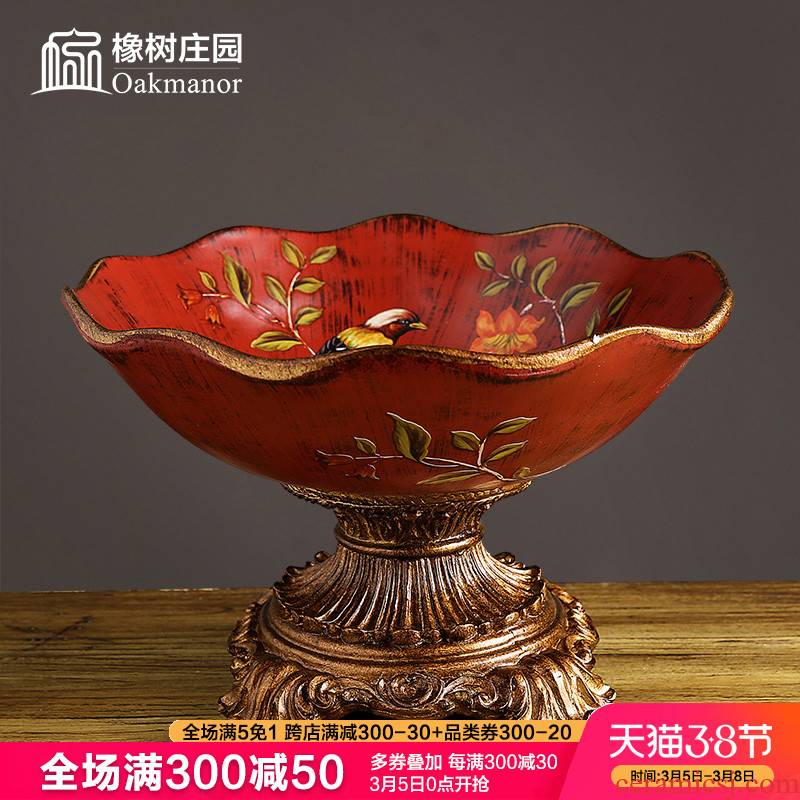 Continental red compote sitting room tea table dry fruit tray was American home furnishing articles innovative new Chinese ceramic fruit bowl