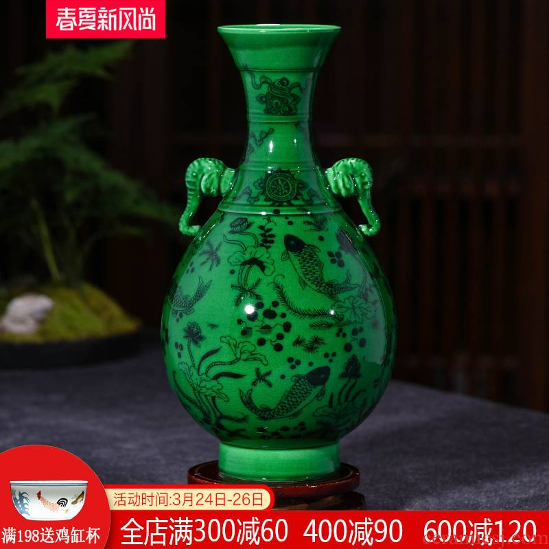 Archaize crack of jingdezhen ceramics glaze ear vase Chinese style restoring ancient ways is the sitting room home wine ark, adornment furnishing articles