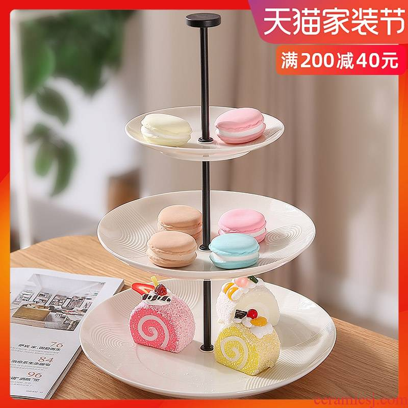 Ou compote three layer cake display creative ceramic plate double snack plate cake pan buffet display shelf