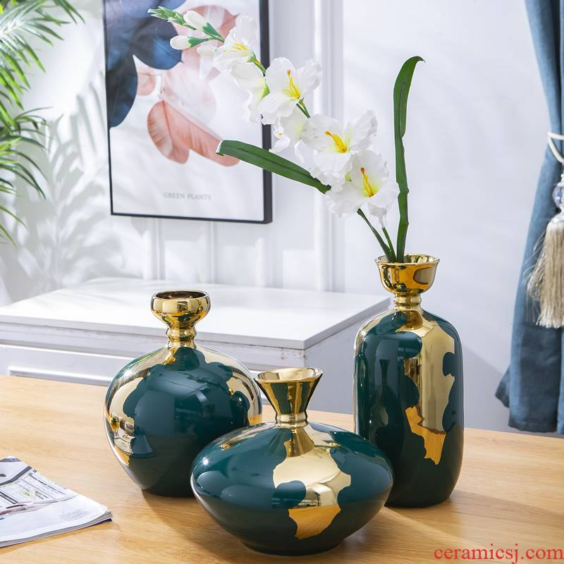 American ceramic vase light furnishing articles of key-2 luxury living room dry flower arranging flowers European household table decorations example room decoration