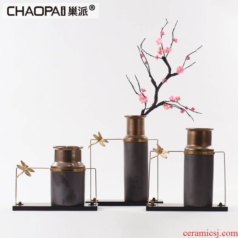 New classic dumb black ceramic flower arranging device furnishing articles of the lacquer that bake the example room floor hall front desk dried flower vase decoration