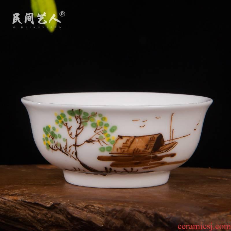 Jingdezhen hand - made ceramic powder enamel small kung fu tea tea tea tea cup bowl sample tea cup masters cup