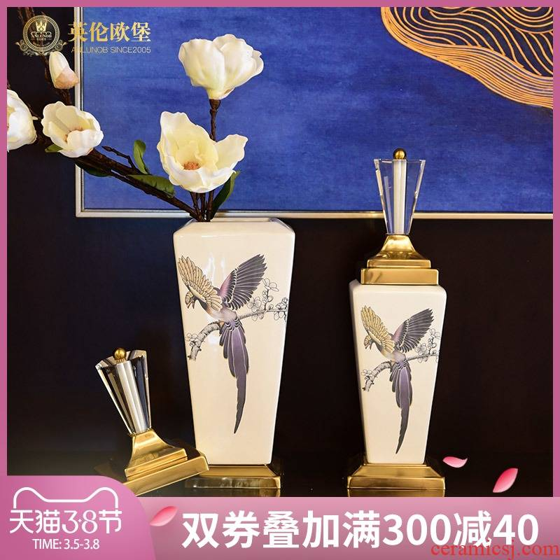 American ceramic storage tank sitting room porch TV ark place new Chinese style household soft adornment between example restoring ancient ways