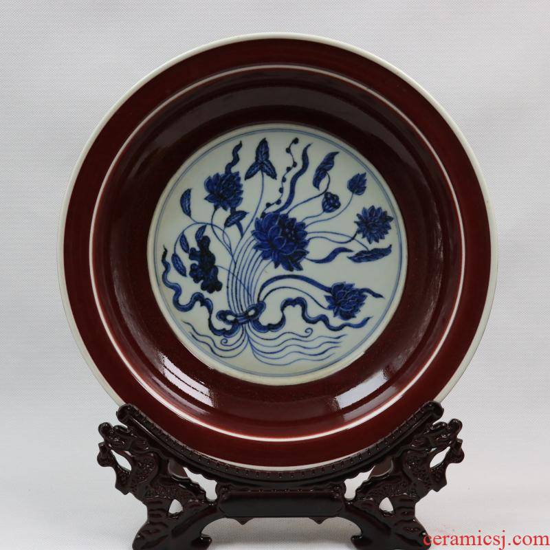 Jingdezhen generic indigo reward of zheng he 's offering gong Ming yongle years offering a flower plate antique reproduction antique furnishing articles