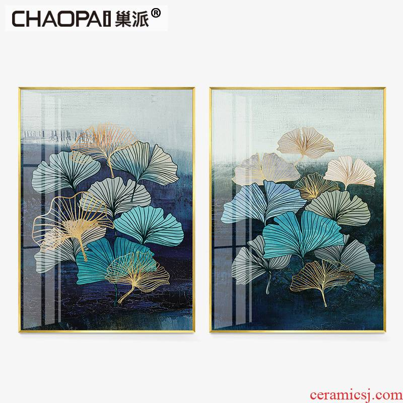 Light key-2 luxury new classical household adornment lotus crystal porcelain painting vertical version of lotus leaf porch corridor corridor study ornaments