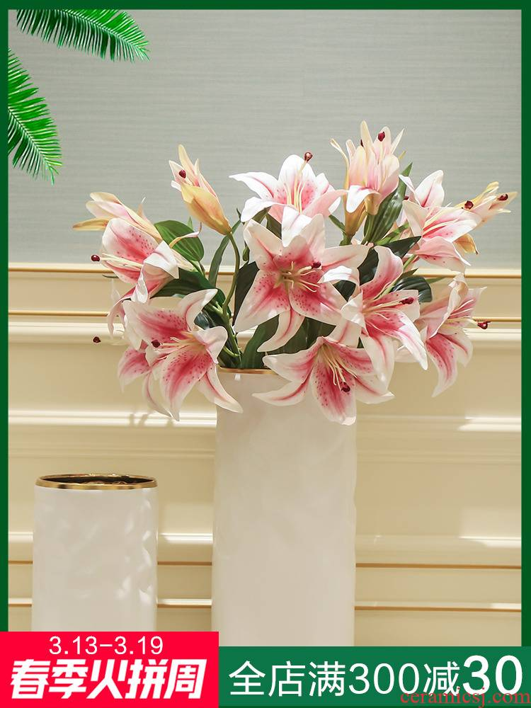 Nordic light ceramic big vase decoration key-2 luxury furnishing articles creative home sitting room new Chinese flower arranging dried flower adornment flowers