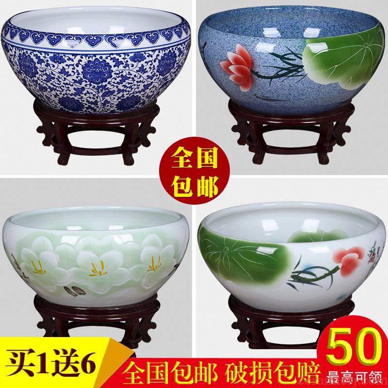 Jingdezhen ceramic aquarium turtle cylinder goldfish bowl of the big tank water lily bowl lotus lotus cylinder cylinder furnishing articles in the living room