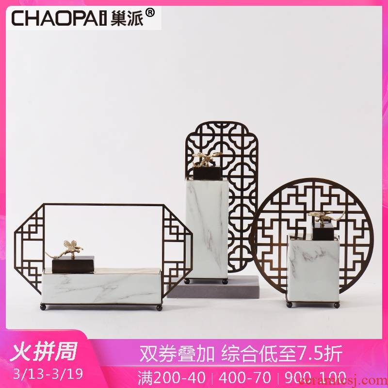 New Chinese style ceramic pot furnishing articles creative metal soft outfit the example room floor porch teahouse study wine accessories