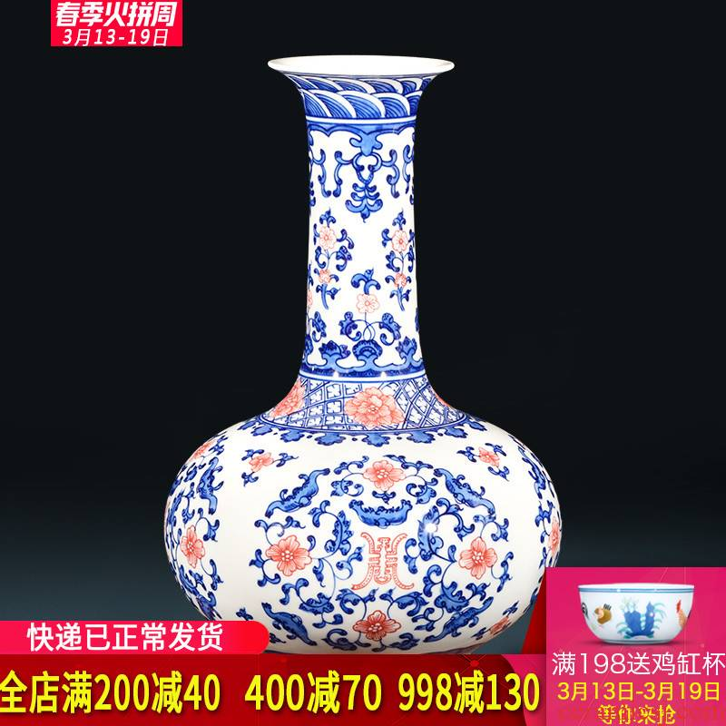 Jingdezhen ceramics hand - made archaize longevity of blue and white porcelain vase flower arranging Chinese style living room home furnishing articles