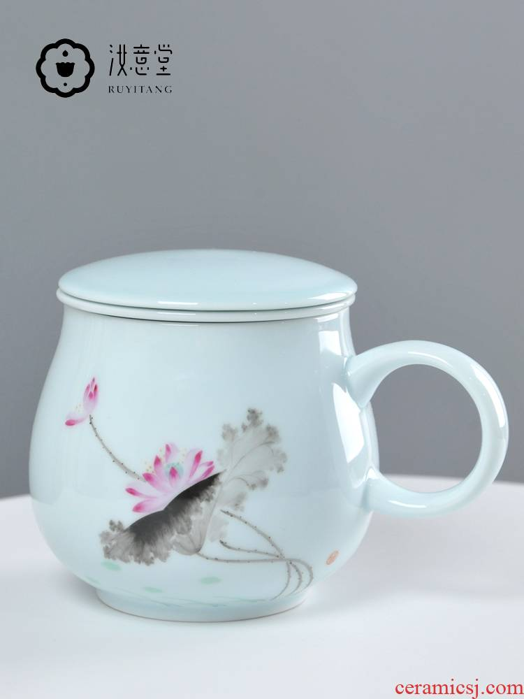 Jingdezhen ceramic cups with cover glass filter to ultimately responds a cup of tea cup keller female office separation