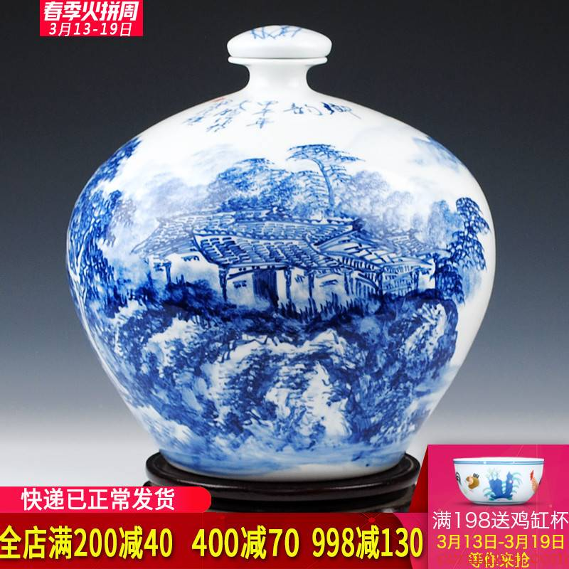 Jingdezhen Wu Wenhan famous blue and white landscape painting hand - made ceramic terms 15 kg bottle pack jars wine collection