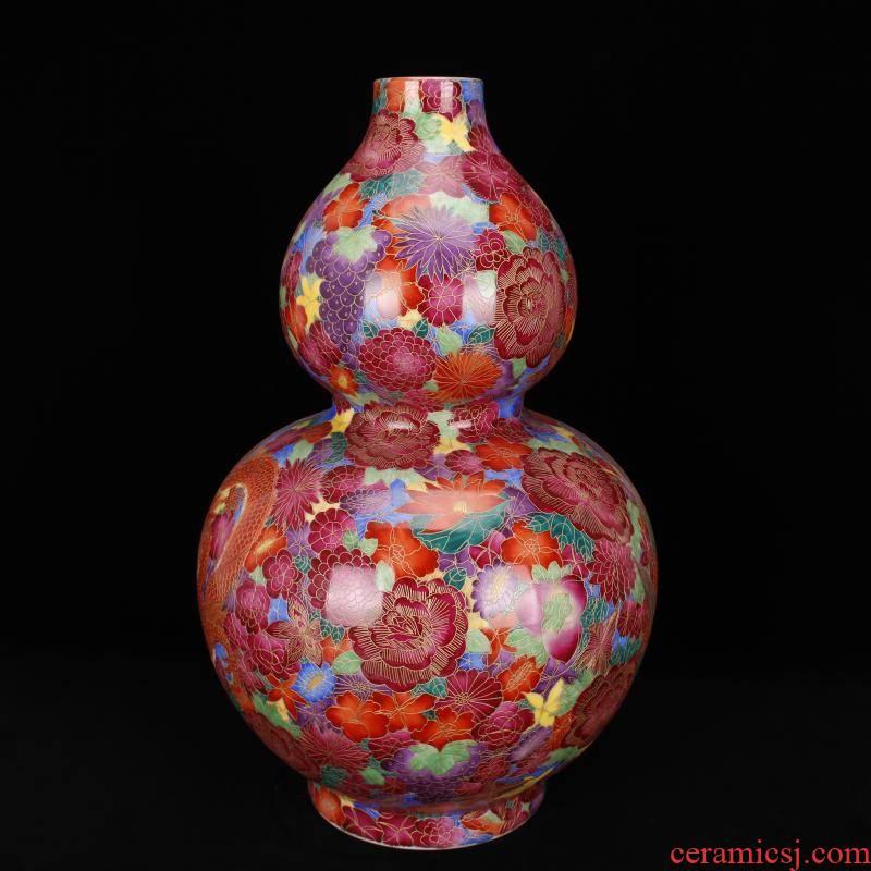 Jingdezhen ceramics the qing qianlong model of archaize of pure hand - made paint hand - cut pinch silk flower longfeng gourd bottle furnishing articles