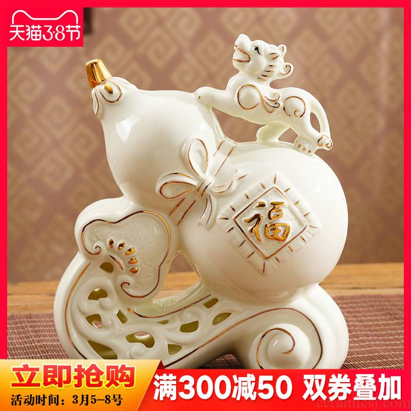 Chinese fortune gourd town house feng shui furnishing articles ceramic wine home sitting room adornment version into gifts