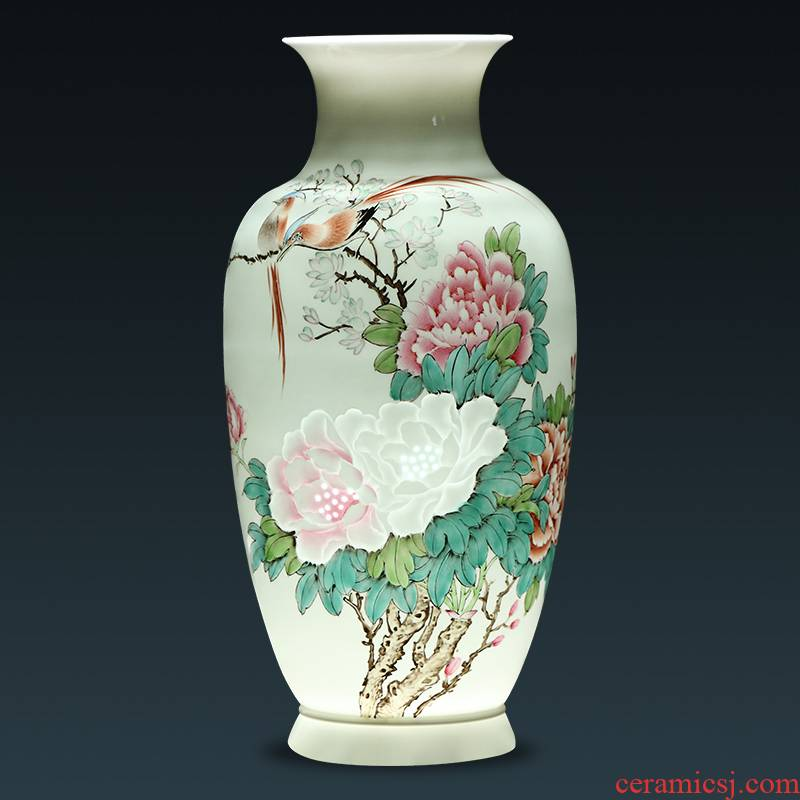 Jingdezhen ceramic masters hand thin foetus carving master vases, flower arranging Chinese style living room home furnishing articles