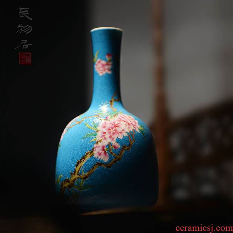 Offered home - cooked in pastel blue scramble for flower prunus persica bell statute of jingdezhen manual archaize ceramic flower vases, furnishing articles