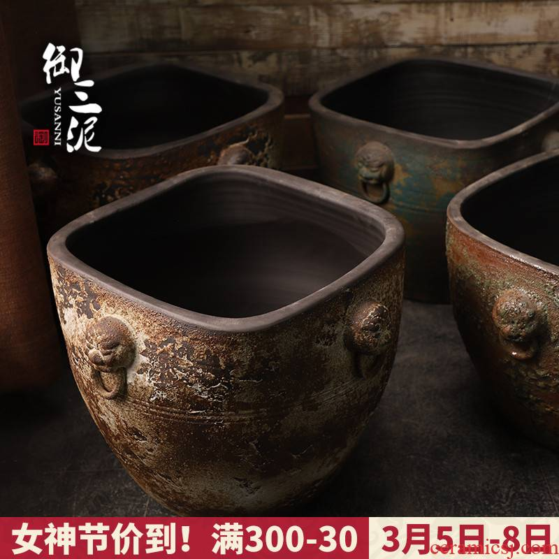 The Head of archaize ceramic VAT coarse pottery hand round the altar tank big flowerpot tank floor furnishing articles courtyard garden