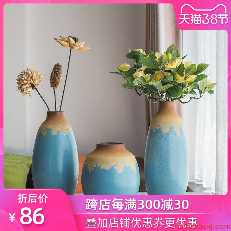 Chinese style is contracted and I Mediterranean vase home furnishing articles pottery and porcelain vase three - piece art restoring ancient ways
