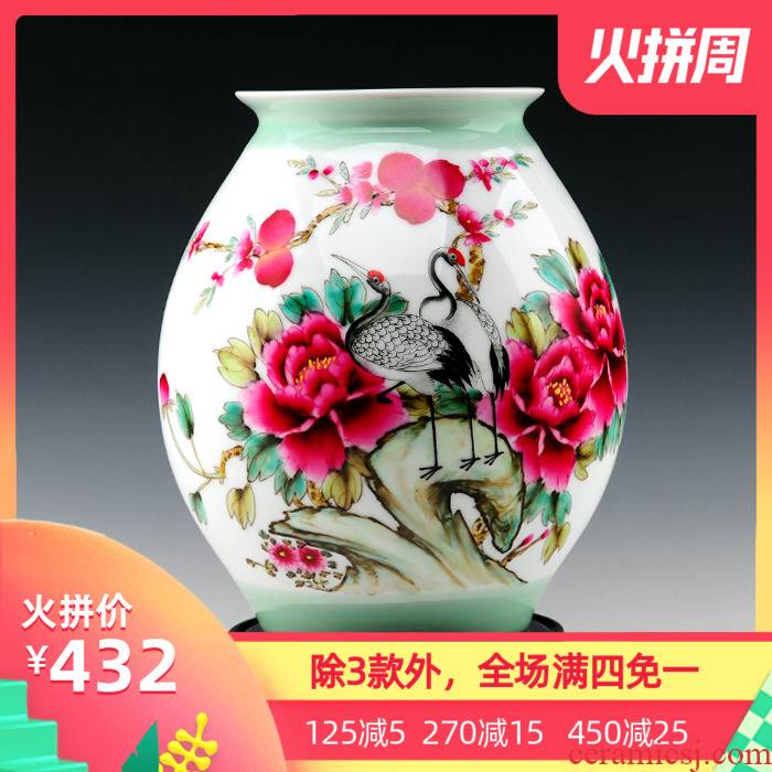 Master hand - made vases, jingdezhen ceramics powder enamel celebrities peony vases, modern furnishing articles of handicraft