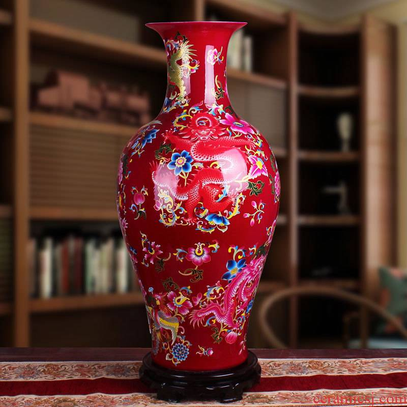 Jingdezhen Chinese I and contracted sitting room place of large ceramic vase that occupy the home decoration flower arranging flowers